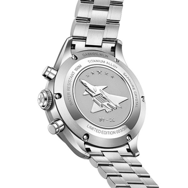 fond de boîtier montre chronographe automatique Fiyta Mach J-20 GA881010.WLW