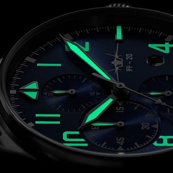 cadran montre chronographe automatique Fiyta Mach J-20 GA881010.WLW